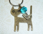 Turquoise Crystal Cat Key Chain - K1737C