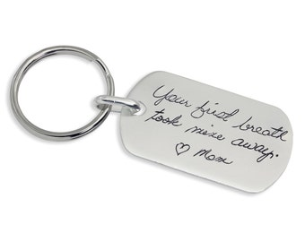 Handwriting Keychain - Personalized Keychain gift - Personalized Keychain - Silver - Engraved Handwriting - Memorial Gift - up to 30 Letters