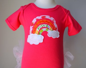 Rainbow appliqué on SHORT sleeved Tutu Onezee Fuchsia Bodysuit with built-on Pink Tutu, baby tutu, baby girls shower gift, infant tutu, tutu