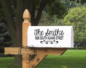 Mailbox Numbers with Last Name Wall Decal