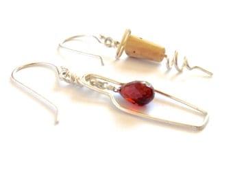 Wine Lovers Earrings. Sterling Silver Garnet Wine Bottle and Cork Screw Earrings