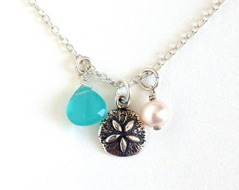 Sterling Silver Beach Sand dollar Necklace. Nautical Themed Necklace.
