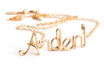 Personalized Gold Name Necklace. High Quality Custom Gold Name Necklace. 14k Gold Filled Name Necklace
