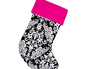 White and Black Damask Christmas Stocking | Personalized Stocking | Hot Pink Cuff | Ready To Ship