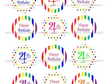 INSTANT DOWNLOAD...Rainbow Happy 4th Birthday.... 2 Inch Circle Image Collage for Cupcake Toppers