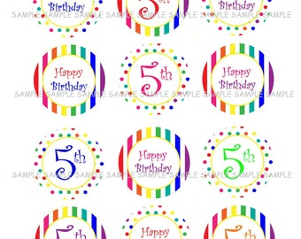 INSTANT DOWNLOAD...Rainbow Happy 5th Birthday.... 2 Inch Circle Image Collage for Cupcake Toppers