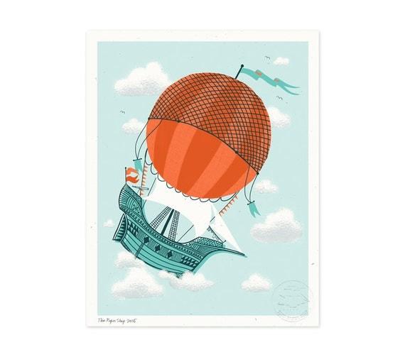 Hot Air Ship Illustrated Art Print