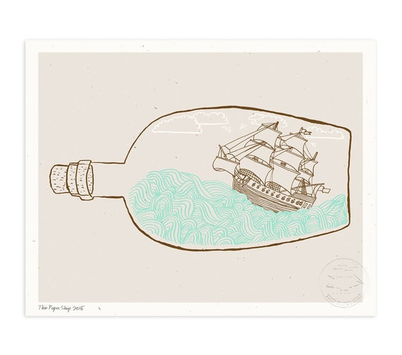 The Original Ship In A Bottle Illustrated Art Print