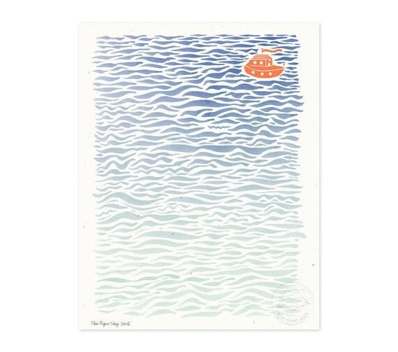 Lost at Sea Illustrated Art Print