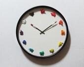 "LARGE 15"" Artist Clock, Canvas, 3D paint daubs globs - CUSTOMIZABLE - art studio, graphic design office decor or painter gift"