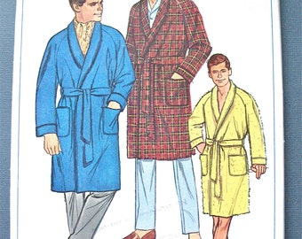 Uncut 1960s Simplicity 6756 Men's Robe Vintage Sewing Pattern Chest 42 and 44 inches