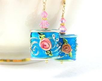 Floral Earrings, Blue Pink Gold Earrings, Lampwork Earrings, Pretty Dangle Earrings, Glass Earrings, Flower Earrings, Gold Filled Earrings