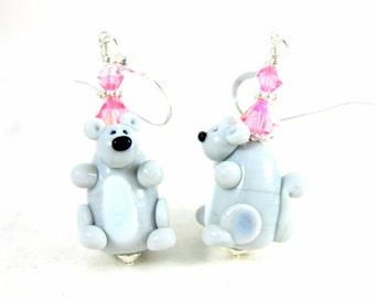 Squirrel Earrings, Animal Earrings, Woodland Earrings, Gray Pink Earrings Critter Earrings Lampwork Earrings Animal Jewelry Woodland Jewelry