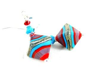 Southwestern Earrings, Colorful Glass Earrings, Lampwork Dangle Earrings Red Turquoise Purple Earrings Geometric Drop Earrings Bright Colors