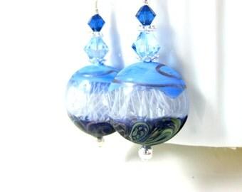 Blue White Cobalt Earrings, Murano Earrings, Summer Earrings, Glass Dangle Earrings, Statement Earrings, Murano Jewelry, Sterling Silver