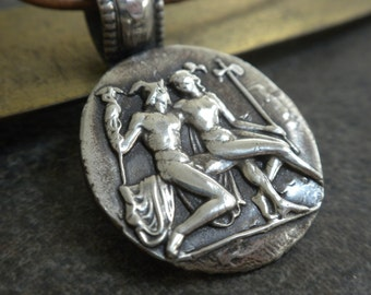 Greek Mythology Jewelry Hermes and Aphrodite Wax Seal Pendant