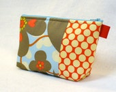 Amy Butler Floral Fabric Large Cosmetic Bag Zipper Pouch Padded Makeup Bag Cotton Zip Pouch Morning Glory Linen Gray Red Blue Lotus