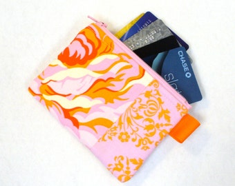 Clearance SALE Hello Roses Fabric Business Card Case Coin Purse Zippered Credit Card Case Womens Wallet Floral Heather Bailey Orange Pink