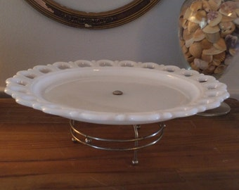 Vintage Rare Milk Glass ~ Lazy Susan ~ Rotating CAKE PLATE ~ Open Heart Lace Scalloped Edge