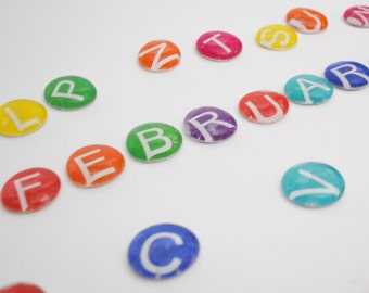 LARGE uppercase LETTERS - colorful calendar magnet or push pin set -you choose your own COLOR - back to school