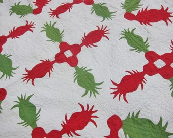 Antique red green applique quilt, 1850s Pineapple , hand stitched, FABULOUS