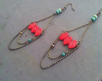 Boho Chandelier Earrings Coral Pink Leaves Dangle Glass Beaded  - Coral Leaves