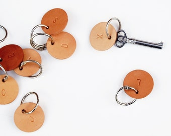 Keychain, Leather keychain, Keyring, Stamped Letters, Initials, Personalized, Alphabet