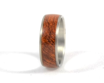 Wood Ring - Amboyna Burl Wood Ring with Stainless Steel Core, Wood Ring, Wedding Ring, Wedding Band, Engagement Ring