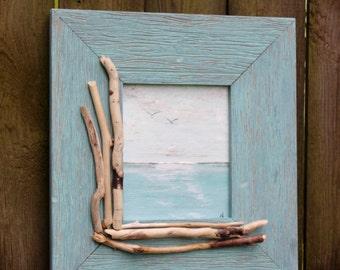 Original Seascape Painting in Driftwood Frame , Coastal wall Art , Beach house Decor , Nautical Decoration