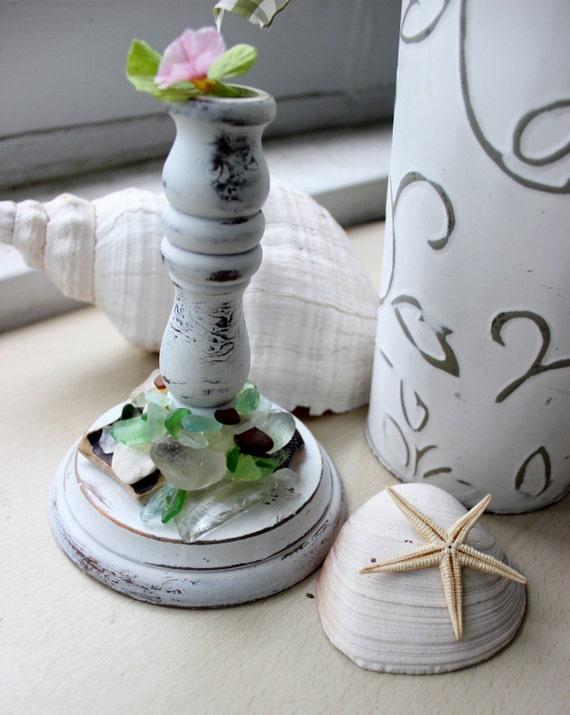 Artistic Sea Glass Vintage Candlestick Holder , Rustic Beach House Decor , Nautical Decoration