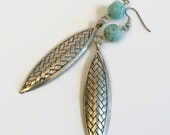 On Sale Statement Earings, Long Earrings, Turquoise Blue Magnesite