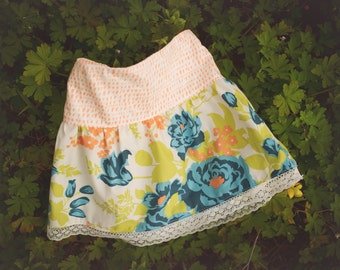 Girl's Skirt - Botanical Print with Lace Trim -  Skirt for Baby, Toddler and Youth Child - Quality Handmade Clothing