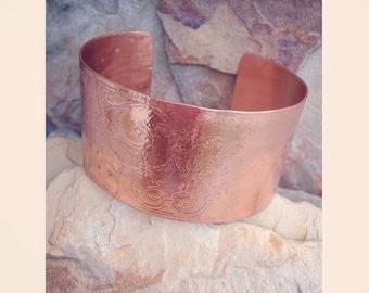 Etched Copper Bangle Bracelet