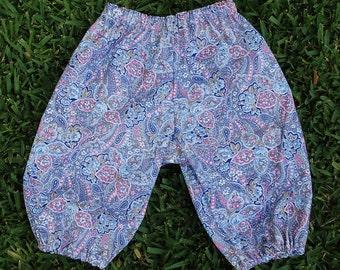 Hippie Harem pants -Blue Rose Paisley - Baby size 6 to 9 months-read measurements