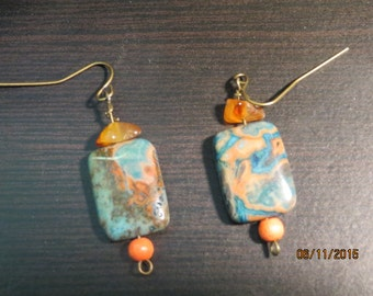 Semi Precious Stone Beaded Earrings with antique brass hooks