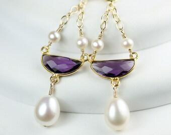 Pearl drop earrings with Amethyst half moon vermeil bezel set long dangle leverback earrings, by art4ear, luxury keepsake earrings, Birthday