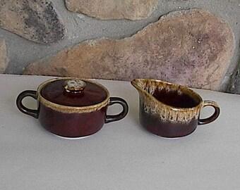 Vintage Brown Drip Creamer & Sugar Set