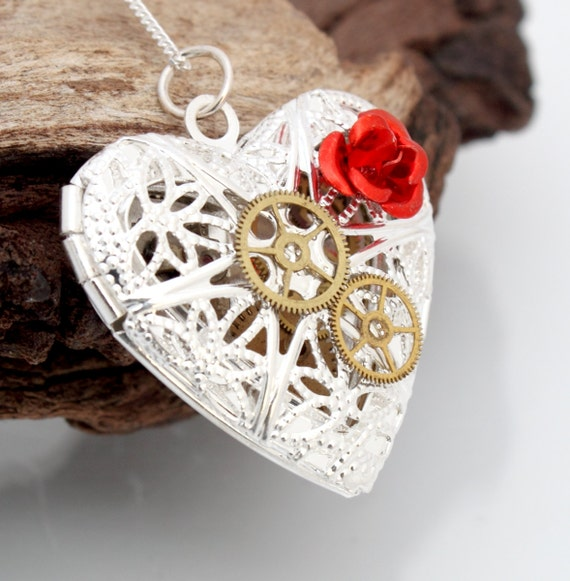 Steampunk locket silver plated filigree heart with red metal rose cabochon and vintage watch parts- Unique Valentines jewelry