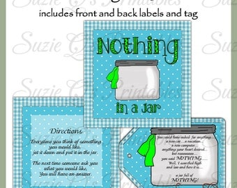 Make your own Jar of Nothing - NEW DESIGN - Labels and Tag - Digital Printable Kit - Great Gift Idea