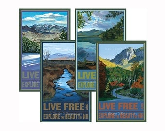 Live Free and Explore NH Posters 8x12 print set of 4, Winter, Spring, Summer, Fall, Chocorua, Pondicherry, Franconia Notch, View from Loon