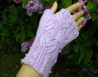 Spring buds boutique lace mauve fingerless gloves with beaded cuff