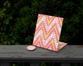 "Wedding Table Number Fabric Magnet Board  - 4"" x 5"" Size - Trending Pink IKAT Chevron - Custom Fabric Available"