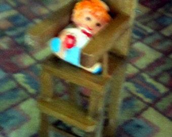 Vintage Wood Highchair Dollhouse Decor
