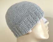 Loro Piana Cashmere Gray Grey Knit Hat Beanie, 100% Pure Italian Cashmere Custom Sizes Hand Knit for Adult Men Teens Boys // VARICK //
