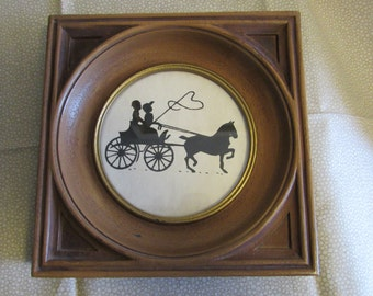 Vintage Silhouette/Horse and Buggy/Black and White/Framed with Glass/1950s