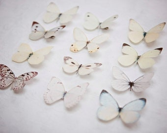 Hand cut silk butterfly hair clips with Swarovski Crystal Wedding Prom Bridesmaid Ethereal Garden Party - Pales  Pick and mix selection of 3