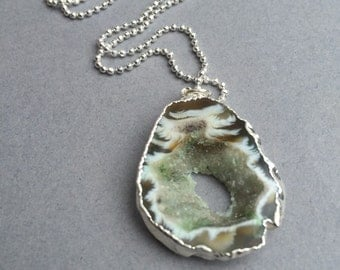 Green Agate druzy slice silver edged pendant on silver bead chain