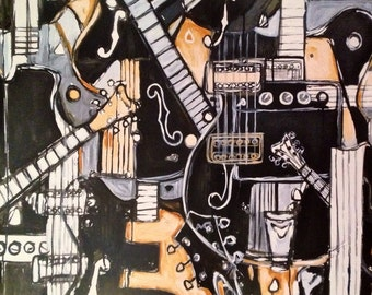 Music Poster Gretsch 'Black Falcons' Guitar Print of original Painting music gift