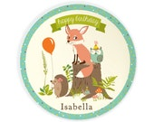 PLATE - Personalized woodland birthday plate for kids