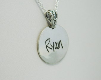 Signature Handwriting Necklace in Memory Jewelry Sterling Silver